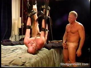 Homosexual dude gets his 10-Pounder and balls tortured by a in nature's garb master
