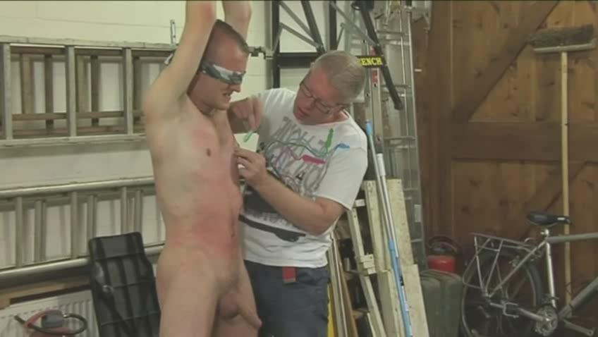Hot homosexual hunk acquires bound blindfolded and dominated