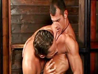 Lusty cowboy gets his hard tool sucked by his randy friend in barn