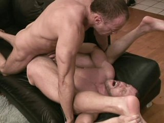 Coarse Homosexual Muscle Lovers Bareback Cum Fucking