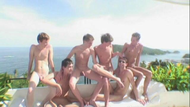 Six sexy twinks having homo fucking party in a fine villa