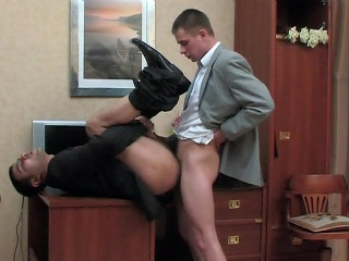 Kinky co-worker and his homo boss having cock-break after hard working...