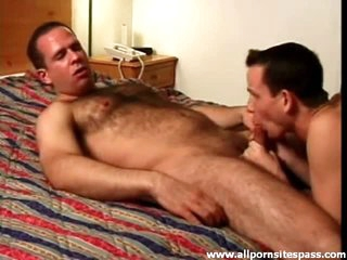 Sexy bear blown and sucking on ramrod in hotel