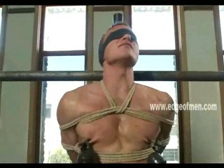 Obedient homosexual guy has his teats clamped during the time that that guy is blindfolded and teased