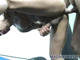 Fit dudes doggy style sex in the boxing gym