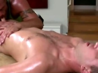 Mature gay masseur sucks fit str8 guy's concupiscent cock