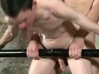 Restrained hunk acquires some hawt wax and anal sex