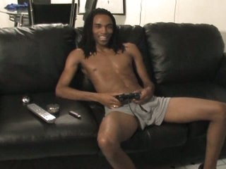 Sexy darksome homosexual with huge boner solo jerking enjoyment on sofa