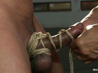 Robert is in big trouble and won't acquire away to easily. His executor fastened him on that wooden beam and rubbed his dick, fastened it and used 2 vibrators on it. This muscled homo experiences what his executor wants, sometime pleasure and sometimes pain, either way this chab needs to obey and be a good yielding guy