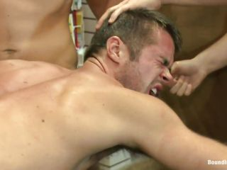 He licks cock and the arrow indicates the spot as this dude shows his tongue throughout hole in the paper. Those men are happy to please his throat and fuck him roughly in his throat with their hard cock. Look at this dude being dominated and punished, they abuse him and fuck his taut anal opening from behind.
