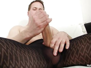 Sometimes a man needs some time alone to relax a bit. And here Clark shows us how it's done. Dressing up his hose this stud takes out his large shlong and rubs it with pleasure, that guy loves nylon and the fun of masturbating alone, some good quality time spent alone, will that guy cum on his pantyhose?
