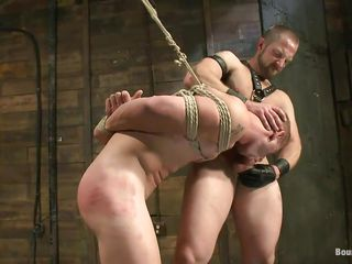 This guy shows his serf who's the boss and after licking his tight, shaved chocolate hole this executor copulates his throat and then licks his face in advance of fucking his chocolate hole hardcore. The fastened gay is hanging and has to obey as the taskmaster male goes unfathomable in his rectum, fucking him merciless. Want to see if he will cum unfathomable in his ass?