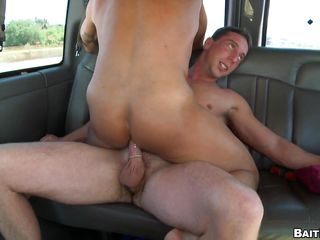 That dude can't live without ridding the dude with his tight asshole, watch him taking it in the wazoo with fun in the back of that bus. This sexy hunk has worthwhile legs, round booty and a tight backdoor that is filled by that guy. After taking it from different position this guy acquires a worthwhile jizz flow on his legs and balls, does this guy enjoys that sexy semen?