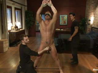 He's a hot guy but hard to please, that's why it takes for 2 executors to do the job. They rub his weenie with vibrator and then make him stand on his feet with his hands tied. Jeremy stays there blindfolded and one of the guys whips his sexy body whilst the other rubs his cock, will that make him satisfied?