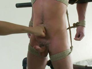 That guy has tied him and blindfolded him to make his feeling of helplessness complete as this guy decides that this guy is going to prolong his torment by making him feel as ht as possible so that this guy will always remember the humiliation when this guy was helpless to control his erection and was totally on his compassion