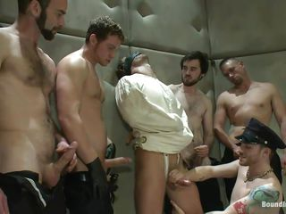 Being blindfolded and in a straitjacket the hawt male has no alternative then to obey those slutty gays. He is in a sanatorium but the merely thing that's insane here is the way they are fucking him! At 1st the dudes give his juicy cock a mean rub and then fuck his mouth whilst whipping that sexy a-hole until it turns red!
