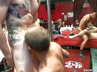 Watch this mad homo party filled with lewd man willing to engulf each rod that they will find. See this striper how they swing around there hard cocks with a brawny tattooed body giving there rod to each one even fucking a few dude deep into the a-hole on the stage for each ones fun.