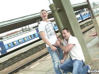 Those horny studs just can't live without engulfing cocks even in the public places. Out there in a railway station, those weenie loving studs met every other and can't await any longer. So they put down one's pant and the other one filled his mouth with that big cock.