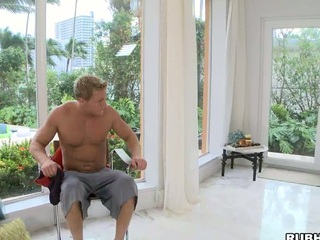 That blond stud receives a huge blowjob and deepthroat! What action!