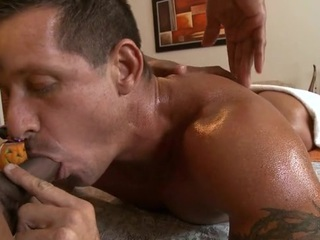 Massaging his constricted abdomen and biggest dick
