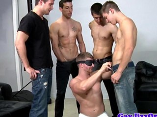 Bukkake loving blindfolded dick acquires cumshots